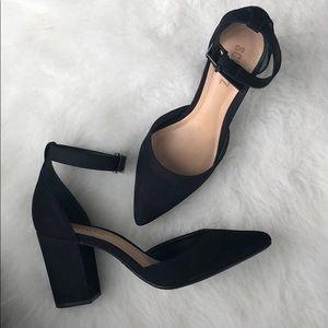 Schutz black pointed ankle strap heels